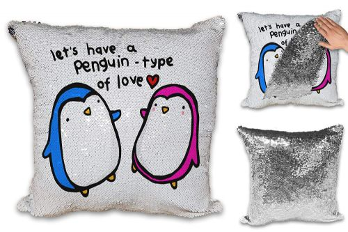 Let's Have A Penguin Type of Love Cute Sequin Reveal Magic Cushion Cove